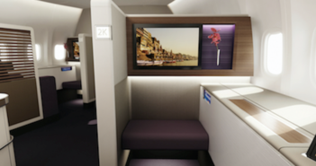 The Thai Airways International (THAI) revamped Boeing 747-400 first class cabin