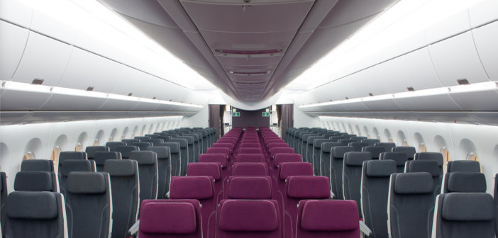 The spacious Airbus A350 cabin is a rival to the Boeing 787 Dreamliner