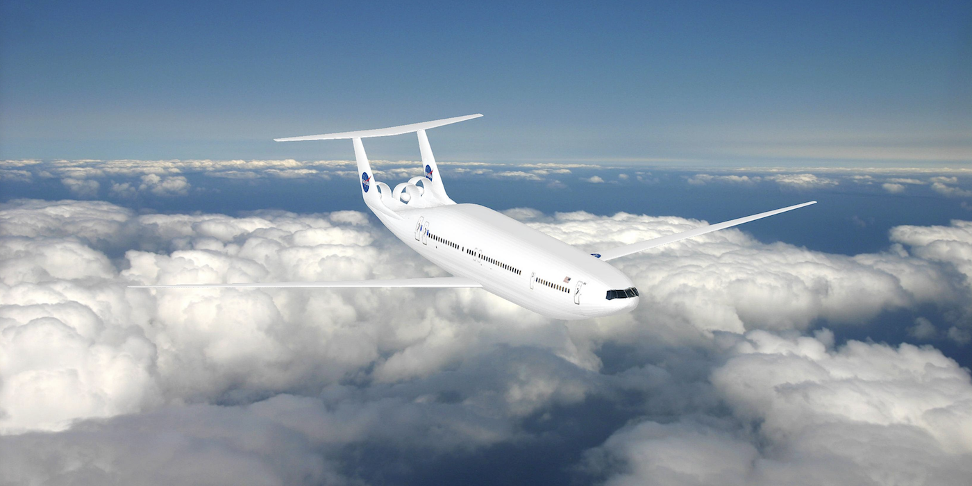 NASA and MIT are involved in developing the fuel-efficient Aurora D8 twin-hull aircraft concept
