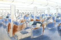 Tangerine concept for British Airways (BA) Lounge in the Sky business class
