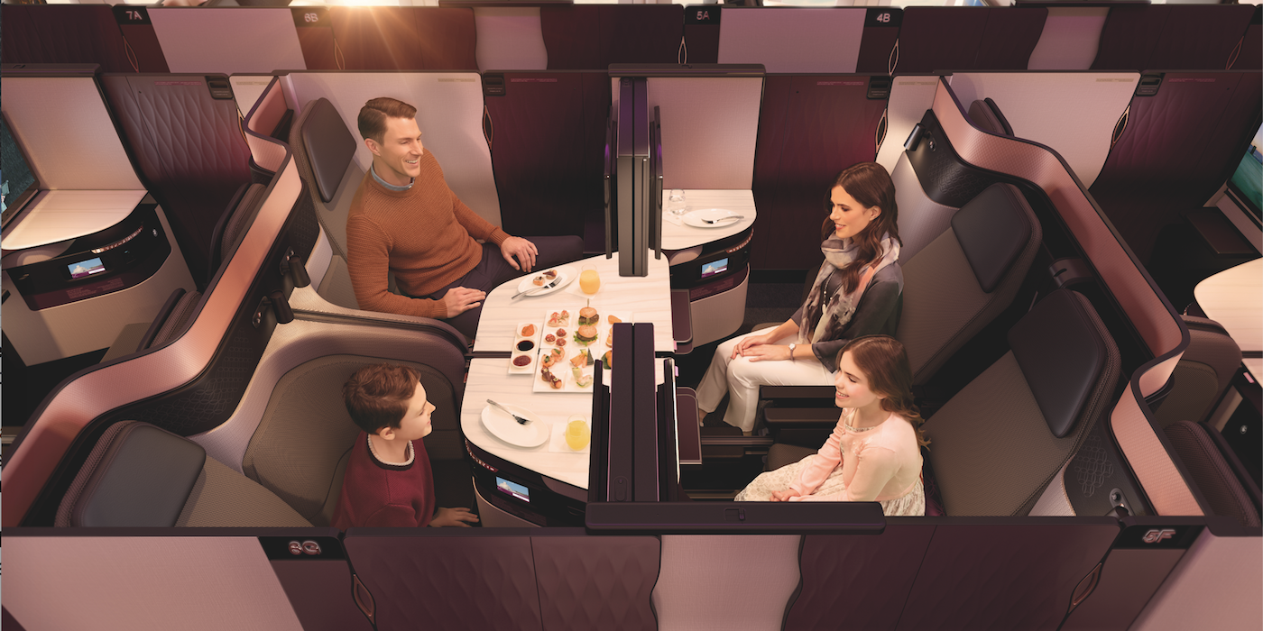 Qatar Airways Qsuite business class on the Airbus A350