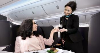 WestJet's Boeing 787 Dreamliner interior, including business class