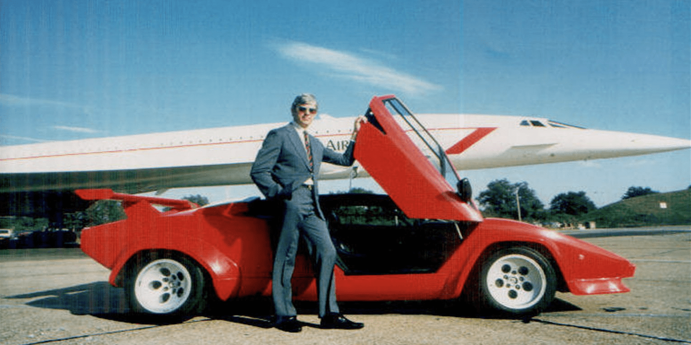 fred finn, the world's most frequent flyer, with a lamborghini and concorde