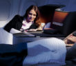 lufthansa business class man and woman in bed