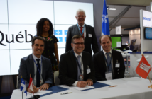 The MoU was signed by Alain Aubertin, VP of CRIAQ and CARIC; Roland Gerhards, MD of ZAL; and Joachim Edel, manager of innovation at ZAL, in the presence of Québec's Deputy Premier, Dominique Anglade, and Hamburg Aviation's MD, Dr Franz Josef Kirschfink