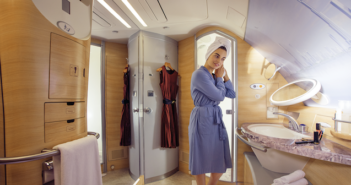 Emirates is celebrating 10 years of operating the A380. Perhaps the most noteworthy innovation on these aircraft is the two Shower Spas. How much extra water is required on board to operate the showers?
