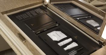 The Byredo kit is stored in a special compartment in the Emirates first class suites
