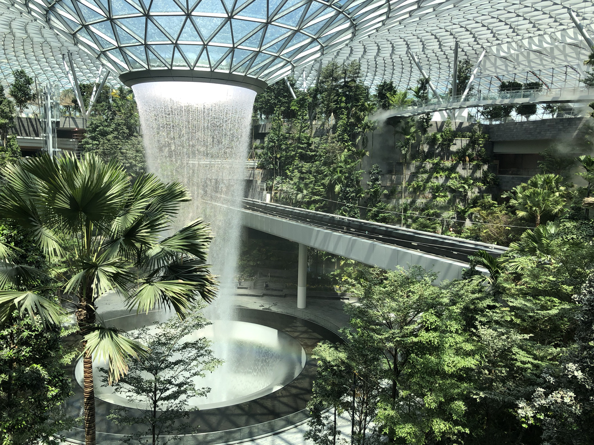 The majestic 40-metre high Rain Vortex, the world's tallest indoor waterfall, will take centerstage in the Changi Jewel complex