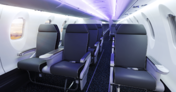The CRJ550 cabin (not the GoJet design). Bombardier views this model as the only aircraft in North America that can replace the existing fleet of ageing 50-seaters, a market of more than 700 aircraft