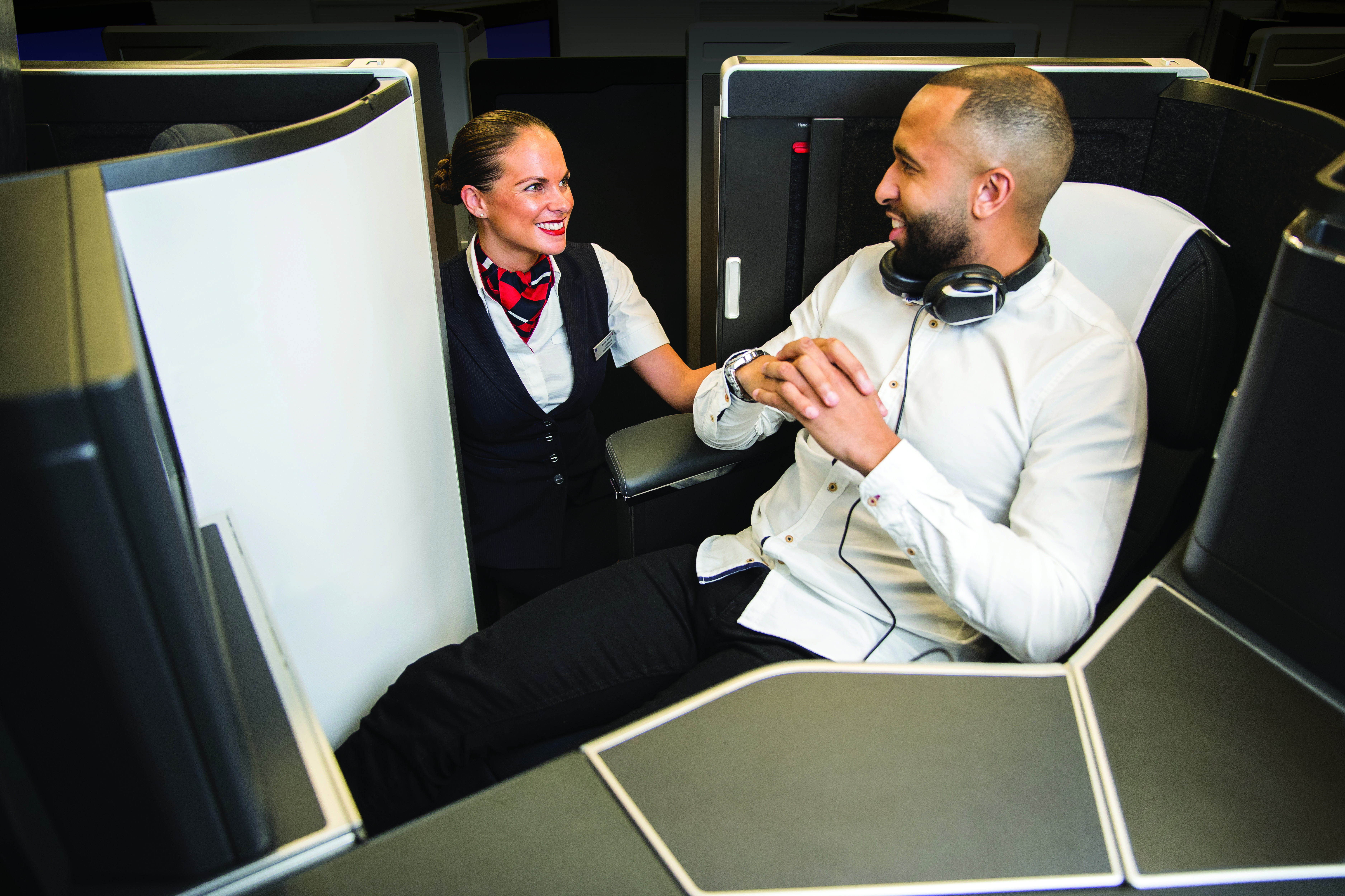 The door of British Airways' A350 Club Suite can be opened for meal service, and closed for sleep