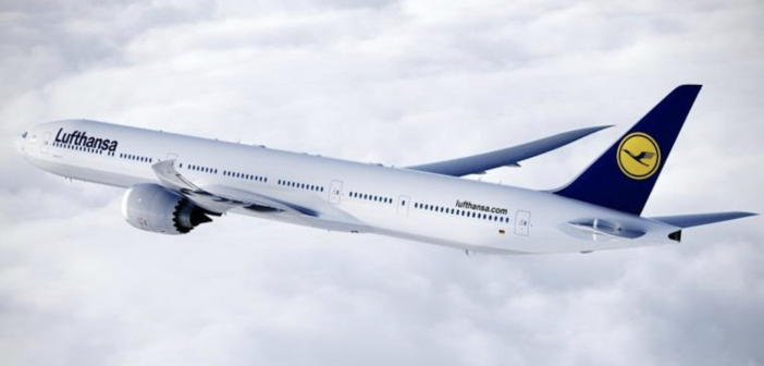 a Lufthansa boeing 777x in flight