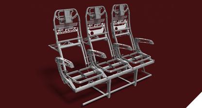 The aluminum primary structure of the Quadra seat