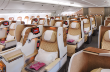 Emirates' retrofitted Boeing 777-200LRs feature a 2-2-2 business class cabin
