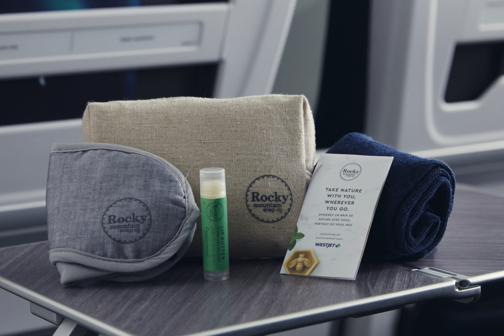 Westjet's new Rocky Mountain Soap Company amenity kits