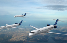 the bombardier crj range in flight