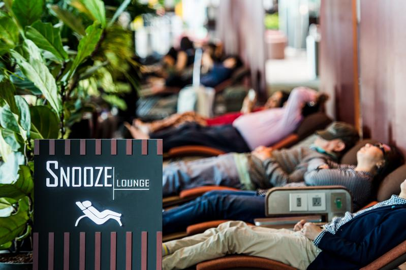 "Free to use ""snooze lounges"""