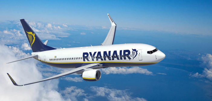 a ryanair aircraft in flight