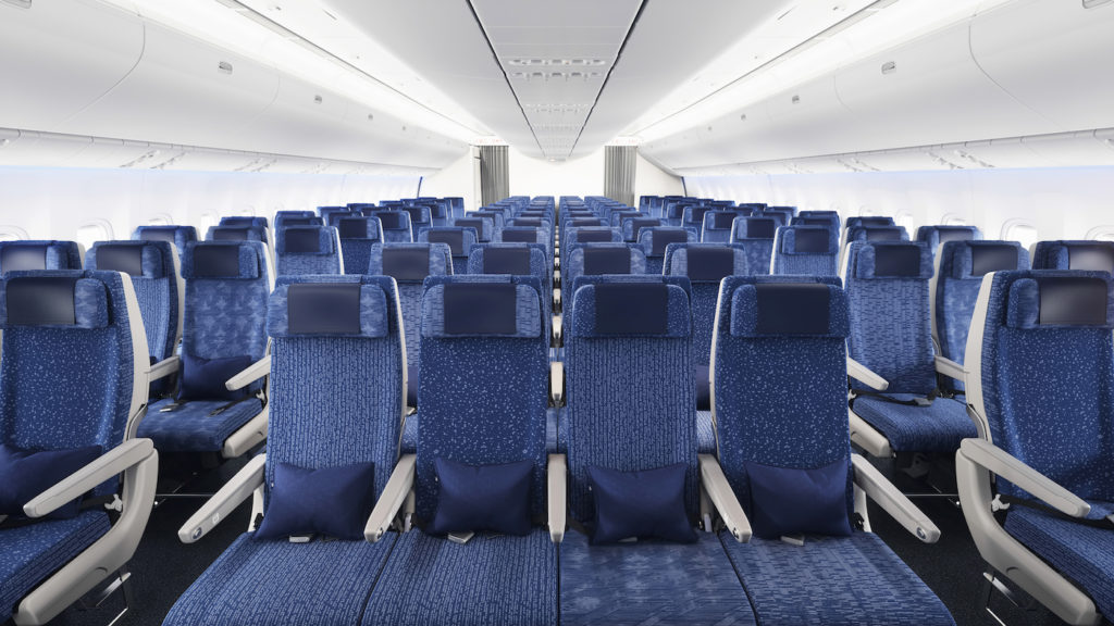 The non-repeating seat cover patterns in economy add visual interest to the 116-seat cabin
