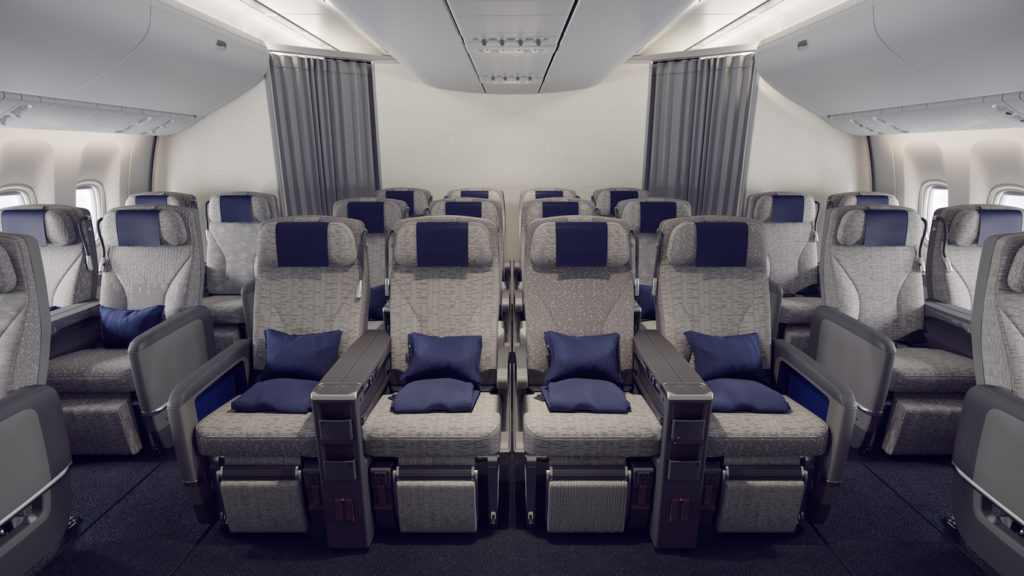 The non-repeating seat cover patterns are more subtle in the 24-seat premium economy cabin