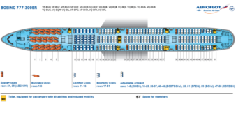 Aeroflot's current B777-300ER cabin configuration