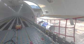 A Vallair A321p2f passenger plane to freighter conversion
