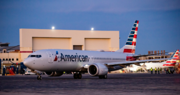 an american airlines boeing 737 max at the airport