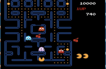 a screen showing the pac man video game
