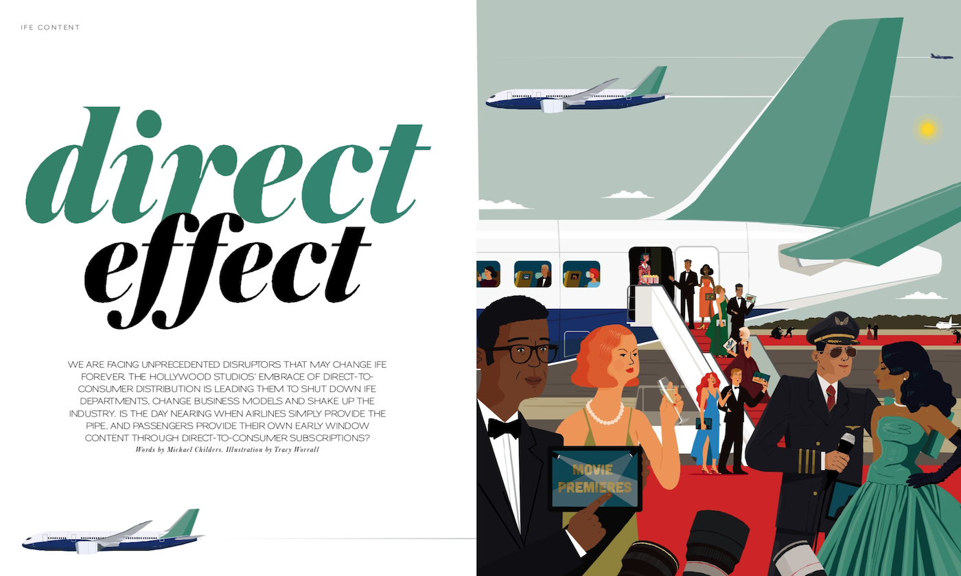 a screenshot of the magazine spread, showing passengers attending a movie premiere outside an aeroplane