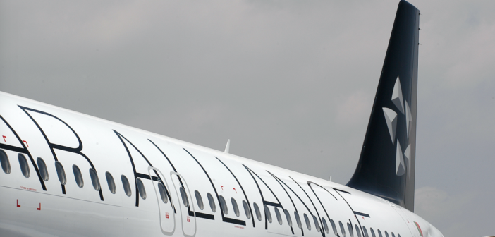 a plane with a Star Alliance livery
