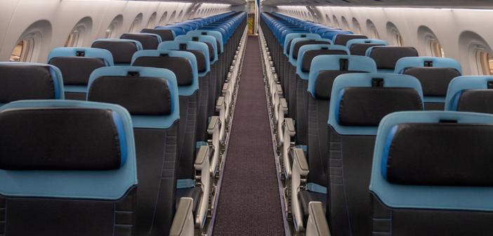 recaro economy class seats in a klm cityhopper aircraft cabin