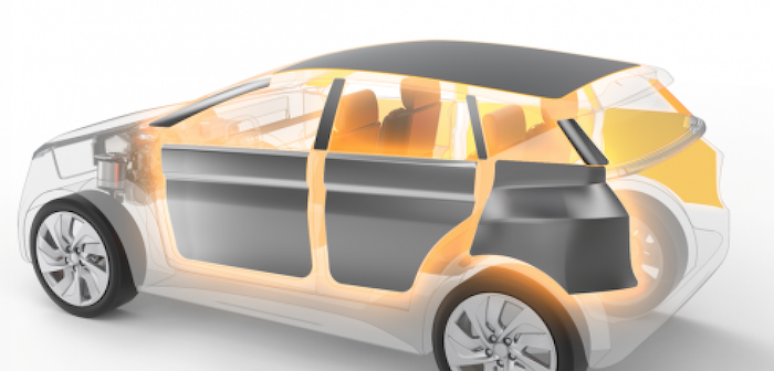 cutaway of a car, showing the location of cabin insulation panels
